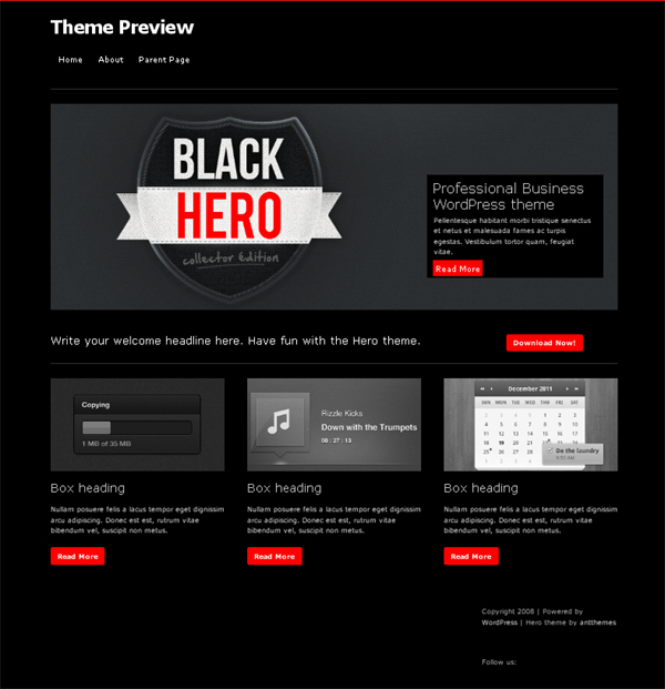 hero Free WordPress Themes Released in Summer 2012