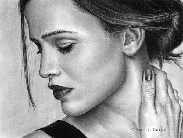 jennifer garner drawing by kjs 11 35 Mindblowing Realistic Pencil Drawings