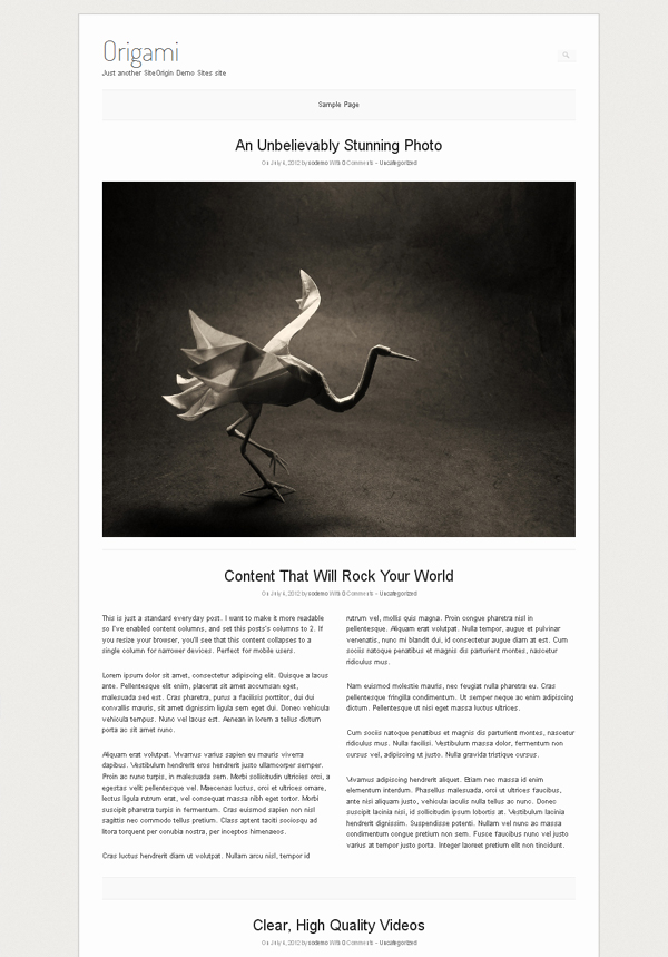 origami Free WordPress Themes Released in Summer 2012