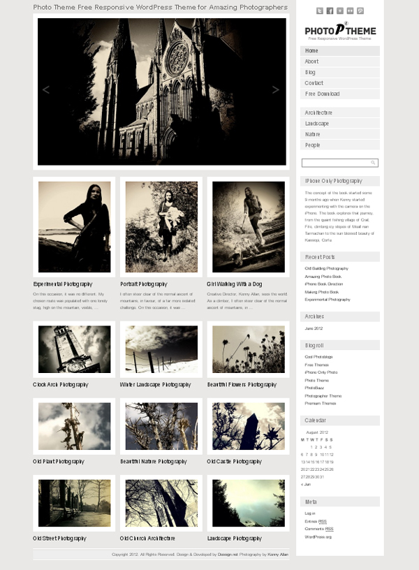 photo theme responsive Free WordPress Themes Released in Summer 2012