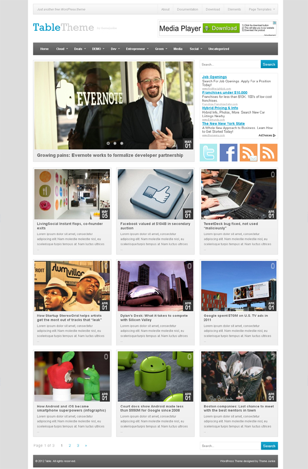 table Free WordPress Themes Released in Summer 2012