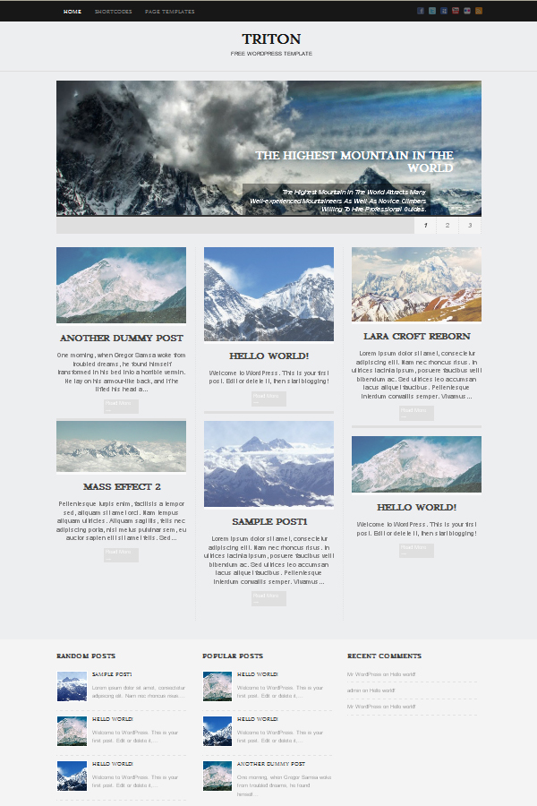triton Free WordPress Themes Released in Summer 2012
