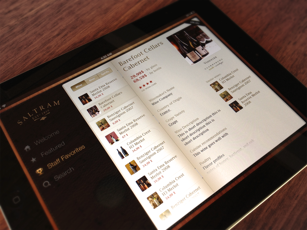 wine app1 25 Handsome iPad User Interface Designs