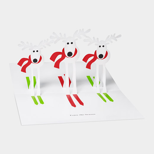 93852 a2 skiiing reindeer1 35 Outstanding Pop Up Holiday Cards