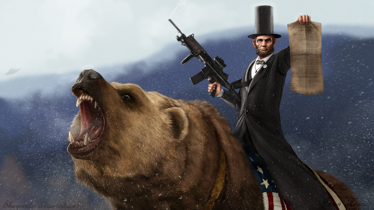 abe lincoln riding a grizzly by sharpwriter d33u2nl1 Creative Political Illustrations by Jason Heuser