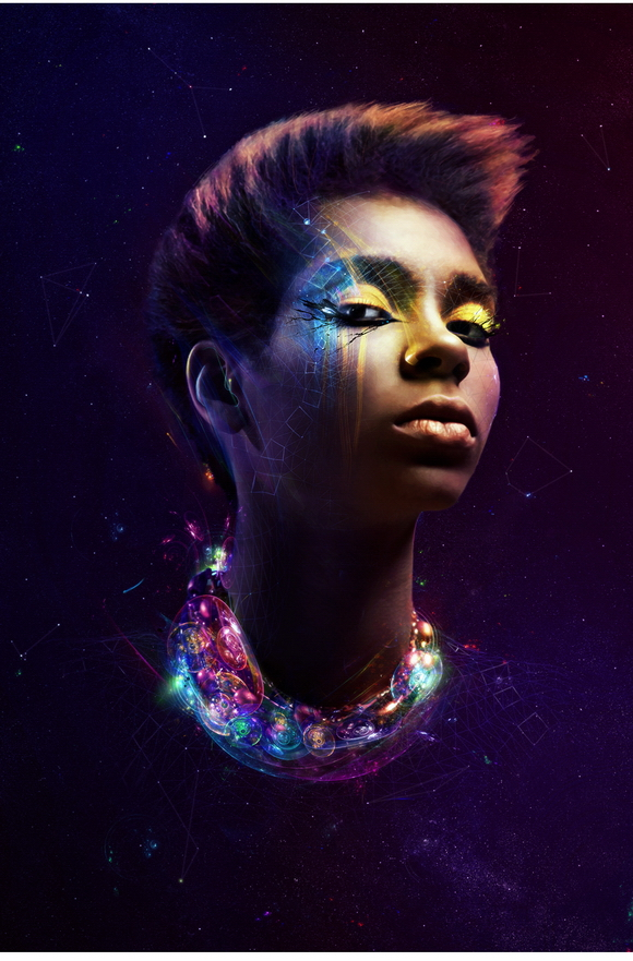 Create a Cosmic Space Girl 3D Photo Illustration