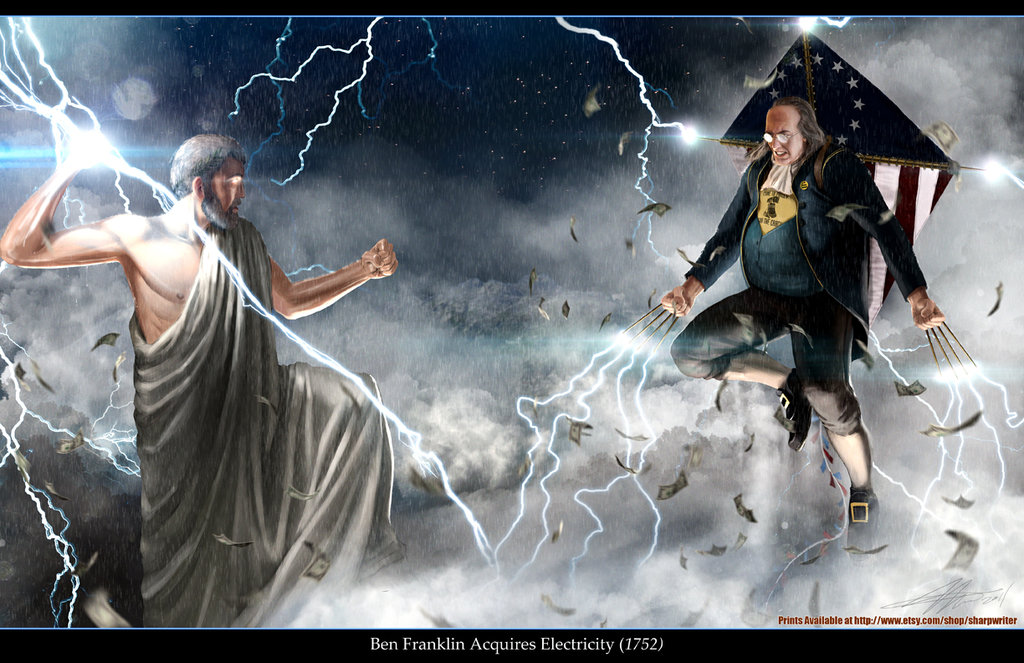 ben franklin vs  zeus by sharpwriter d4hjp6a1 Creative Political Illustrations by Jason Heuser