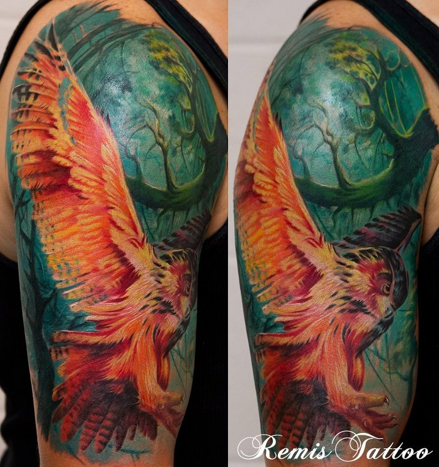 color owl tattoo by remistattoo d46fm1h1 30 Incredible Tattoo Designs