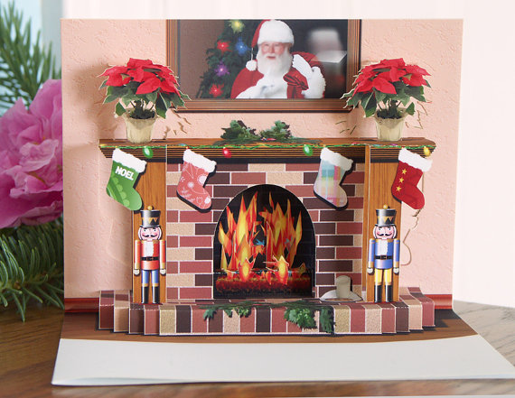 Pop up Christmas Fireplace card with popup nutcrackers