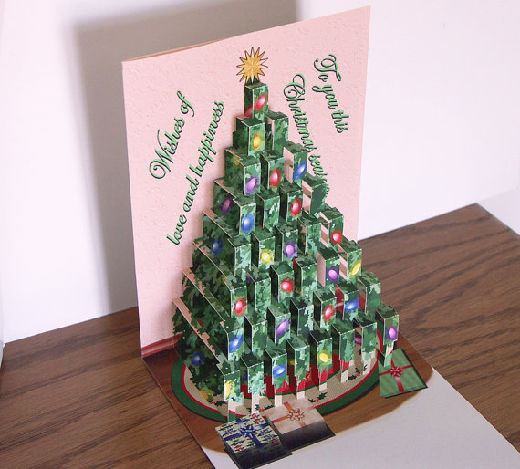 Pop up Decorated Christmas Tree card Merry Christmas