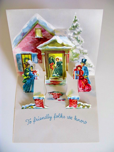 Vintage pop up Christmas card