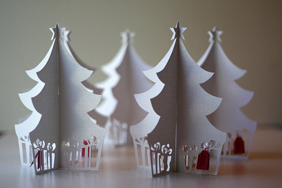 3D flat-folding Christmas Tree Holiday Card