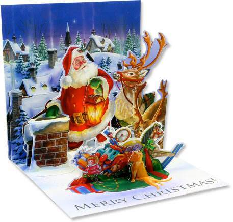 Pop-up 3D Rooftop Santa Claus Merry Christmas Card Greeting Reindeer