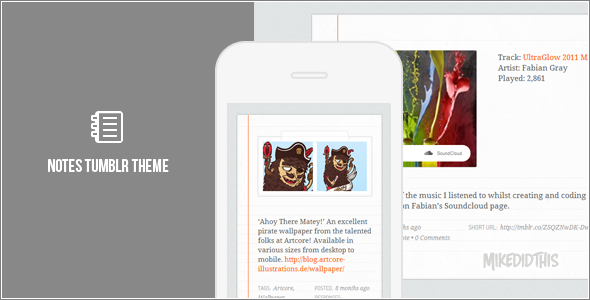 notes preview   large preview1 55 Elegant and Customizable Tumblr Themes