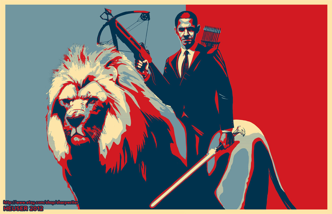 obama riding a lion poster by sharpwriter d5ftzex1 Creative Political Illustrations by Jason Heuser