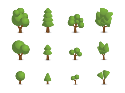 Trees icons set by Dan Skrobak