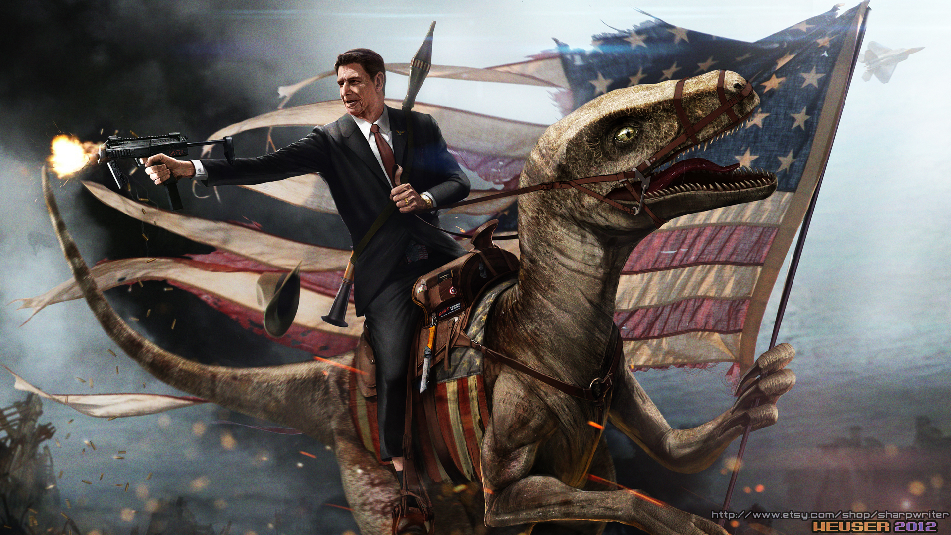 ronald reagan riding a velociraptor by sharpwriter d55rsh71 Creative Political Illustrations by Jason Heuser