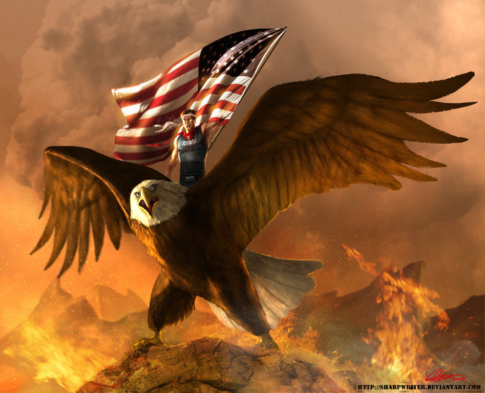 stephen colbert atop an eagle by sharpwriter d34rsmh1 Creative Political Illustrations by Jason Heuser