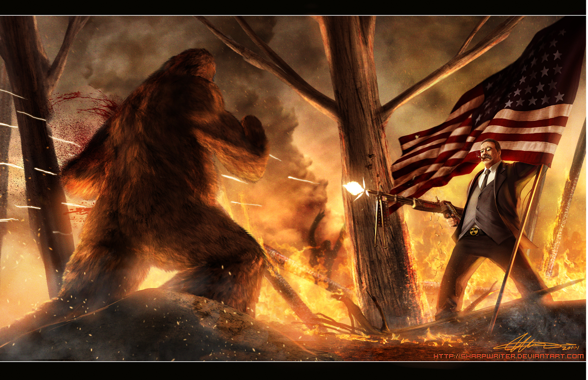 teddy roosevelt vs  bigfoot by sharpwriter d3a72w41 Creative Political Illustrations by Jason Heuser