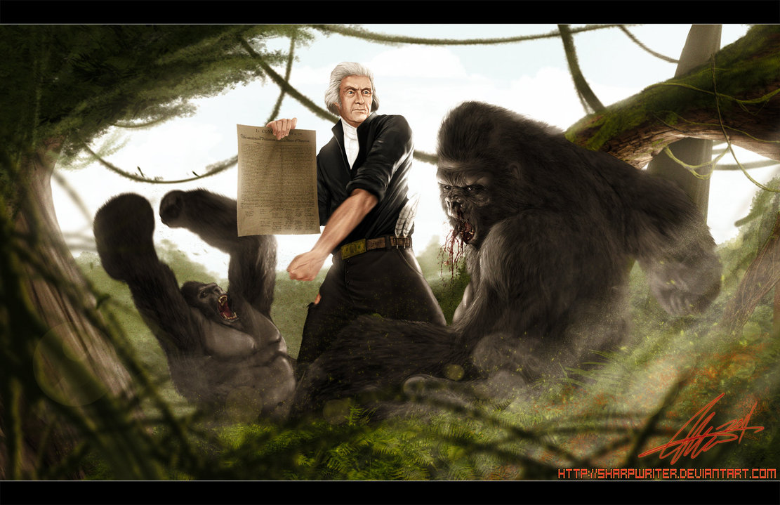 thomas jefferson vs gorilla by sharpwriter d3fxuo81 Creative Political Illustrations by Jason Heuser