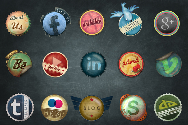Vintage-Social-Media-Badge-Set