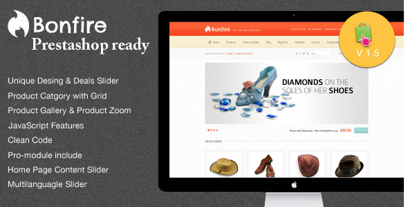 01 bonfire prestashop   large preview1 Clean and Modern E commerce Prestashop Themes