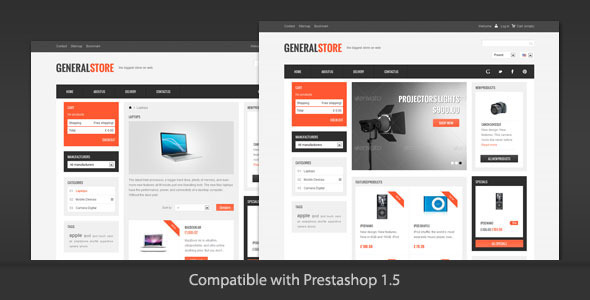 01 generalstore ps preview   large preview1 Clean and Modern E commerce Prestashop Themes