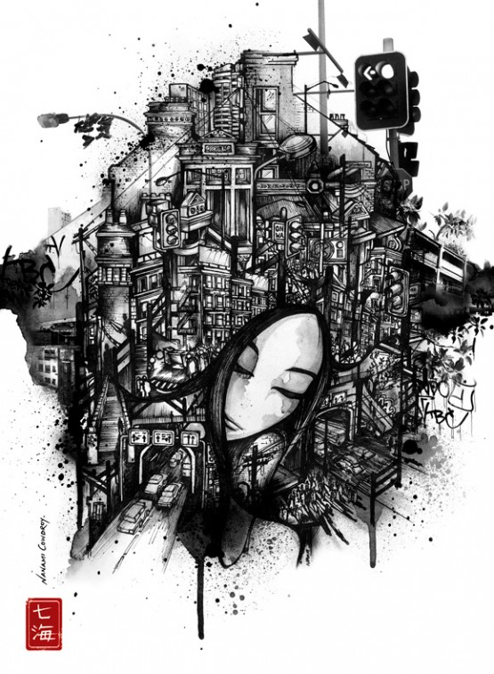 1271751342 9248 medium Black and White Illustrations by Nanami Cowdroy
