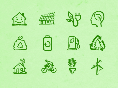 Hand-drawn Eco Icons 2 by Hatchers