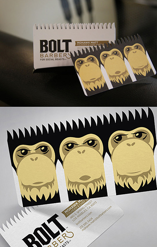 bolt barbers design l1 25 Illustration Based Business Card Designs