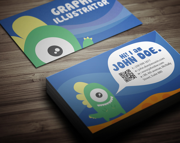 graphic monster character design business card design 011 25 Illustration Based Business Card Designs