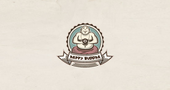 happy buddha l1 30 Creative Ribbon Logo Designs