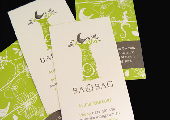 illustration business cards baobag1 25 Illustration Based Business Card Designs