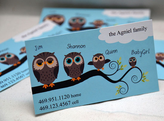 illustration business cards owl family mommy card1 25 Illustration Based Business Card Designs