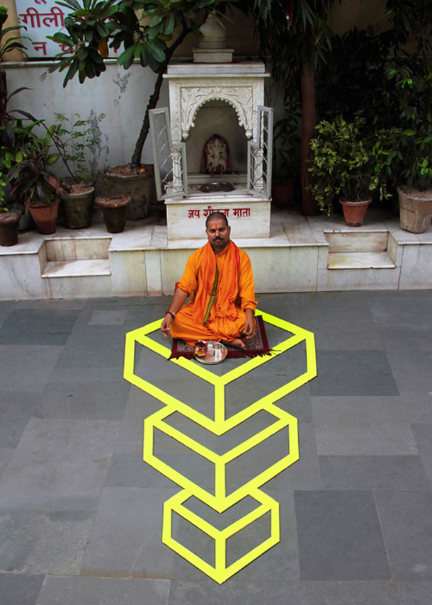 ingenious creative cubes from neon tape by aakash nihalani 12 Geometric Street Art Created With Luminescent Tape