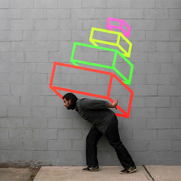 ingenious creative cubes from neon tape by aakash nihalani 20 Geometric Street Art Created With Luminescent Tape