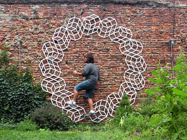 ingenious creative cubes from neon tape by aakash nihalani 23 Geometric Street Art Created With Luminescent Tape