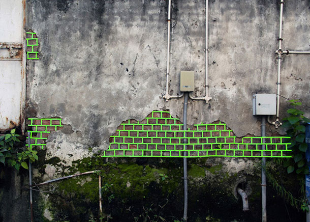 ingenious creative cubes from neon tape by aakash nihalani 28 Geometric Street Art Created With Luminescent Tape