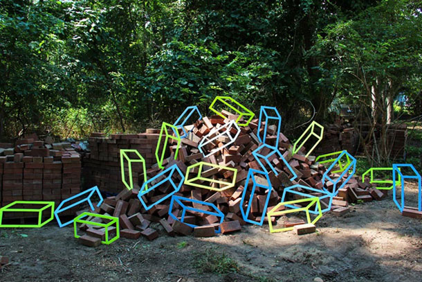 ingenious creative cubes from neon tape by aakash nihalani 5 Geometric Street Art Created With Luminescent Tape