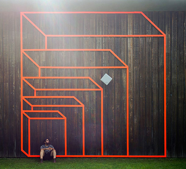 ingenious creative cubes from neon tape by aakash nihalani 6 Geometric Street Art Created With Luminescent Tape