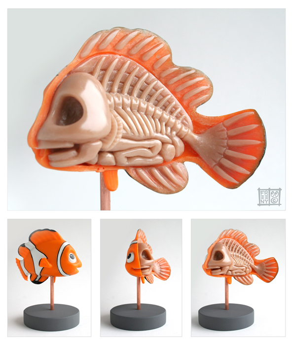 nemo anatomt sculpt by freeny d2yn6ew Creative Character Anatomy Sculptures by Jason Freeny