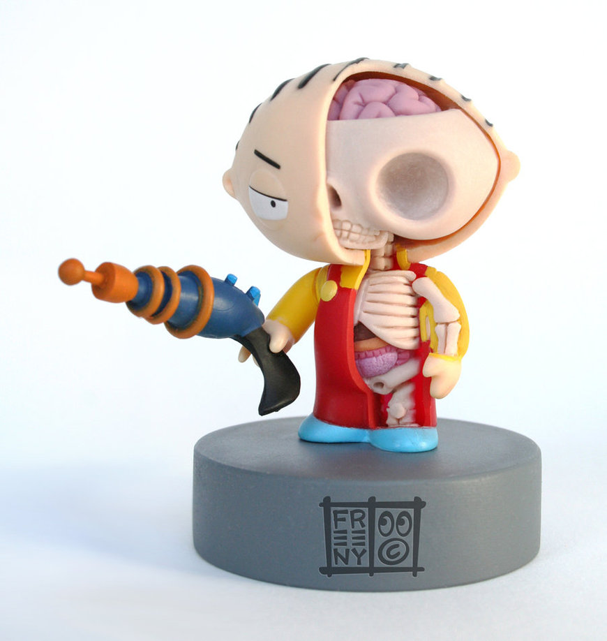 stewie anatomical sculpt by freeny d35kqlt Creative Character Anatomy Sculptures by Jason Freeny