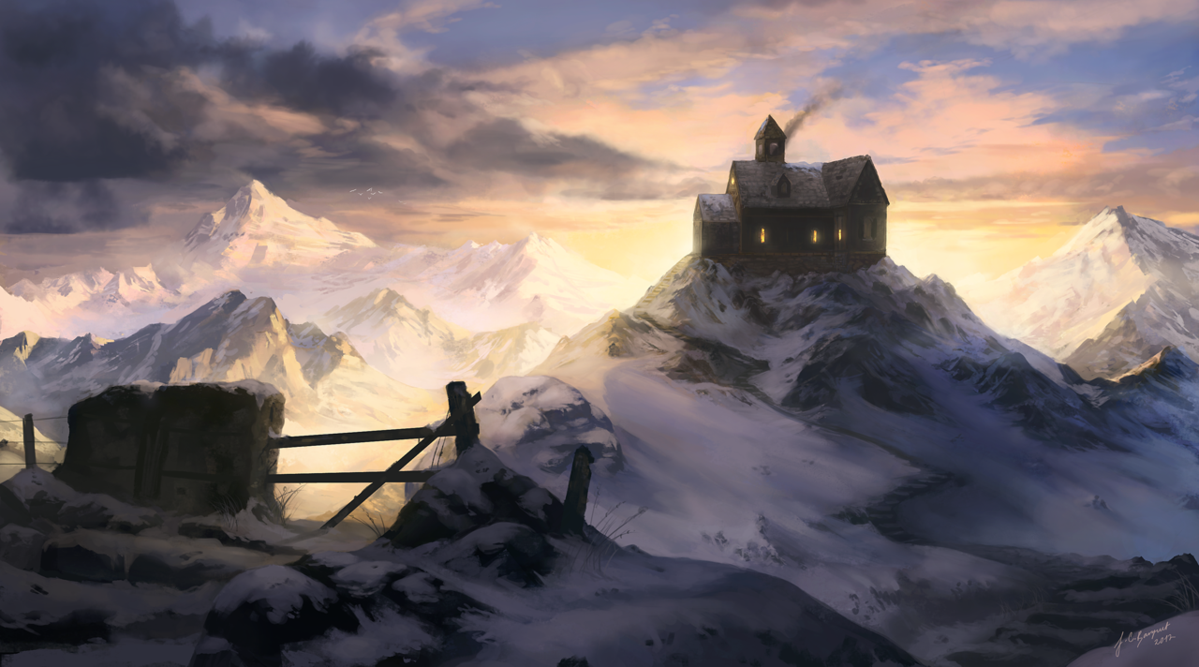 winter cottage by jcbarquet d4wk12r1 Digital Fantasy Paintings by Juan Carlos Barquet